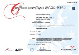 Metal Profil certifikati