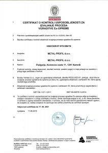 Metal Profil certifikat